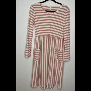 Orange Creek Classic Stripe V Neck Dress Size M